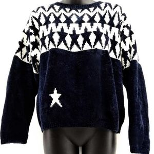 Hand Loomed Chenille Navy & White Soft Star Sweate